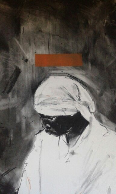 Title: 'Umfazi wekholwa' Medium: Charcoal and silkscreen on paper Size: 77cmX56cm Year: 2016 Artist. Minenkulu Ngoyi