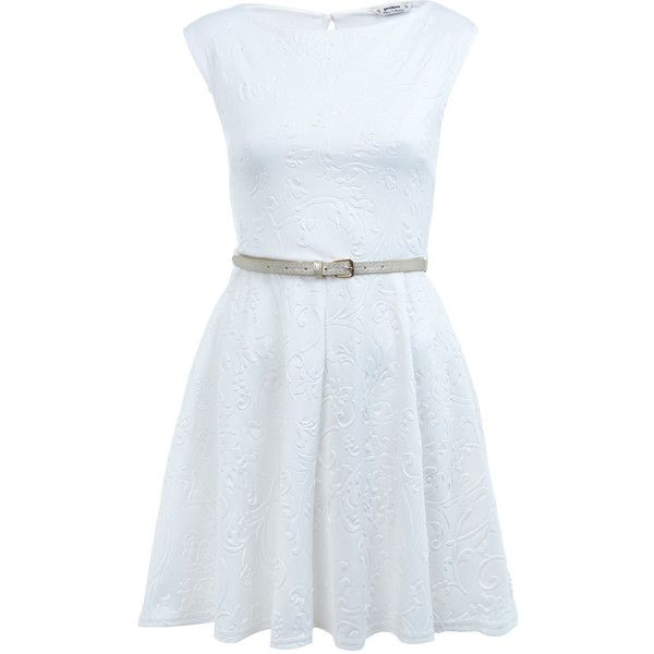 Miss Selfridge Petites Embossed Skater Dress ($35) ❤ liked on Polyvore featuring dresses, vestidos, white, miss selfridge, petite, petite dresses, belt dress, petite white dresses, skater dress and miss selfridge dresses