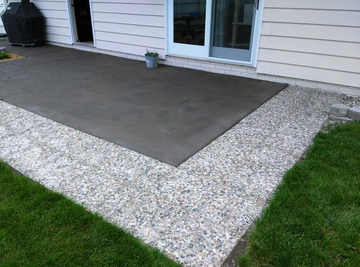 had old slab cement patio painted bronze added stone pavers all around to extend - Concrete Patio Design Ideas