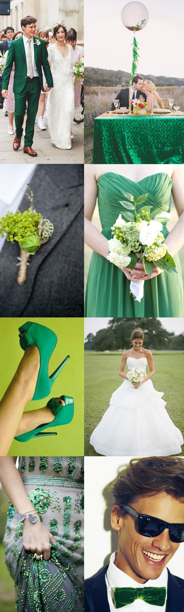 "I want to feature the dazzling possibilities of Going Green when it comes to saying your ""I Do's"". Green is enthusiastically optimistic, opulent and ridiculously charismatic when it comes to wedding wear. Green lace, emerald sequins, clover green bow ties; the options for going green have never been as handsome, or enticing"