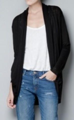 Black Collarless Long Sleeve Loose Sweater