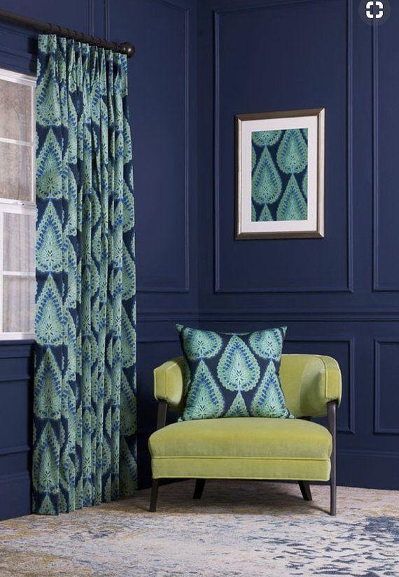 Blue Velvet Curtains Teal Curtains Velvet Drapes Blue Paisley
