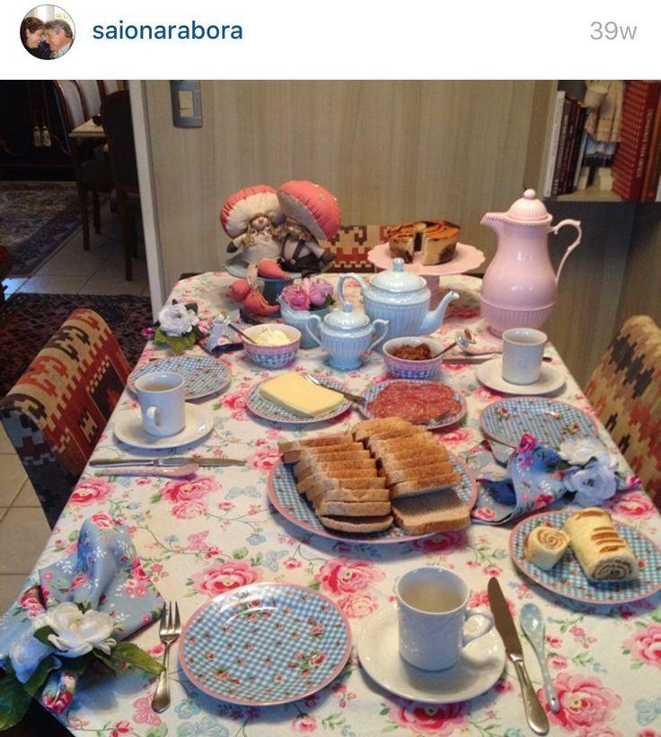 Café patchwork mesa decoração louça