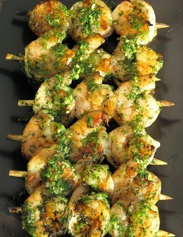 Cilantro Pesto Grilled Shrimp,,