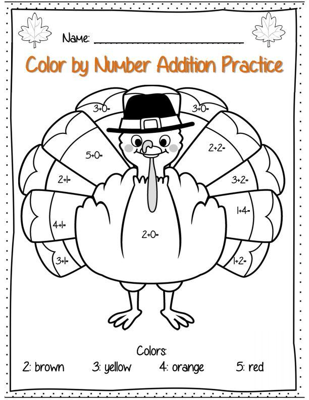Number Names Worksheets : thanksgiving math worksheets for ...