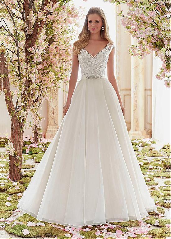 Buy discount Graceful Tulle V-neck Neckline A-line Wedding Dresses With Lace Appliques at Dressilyme.com