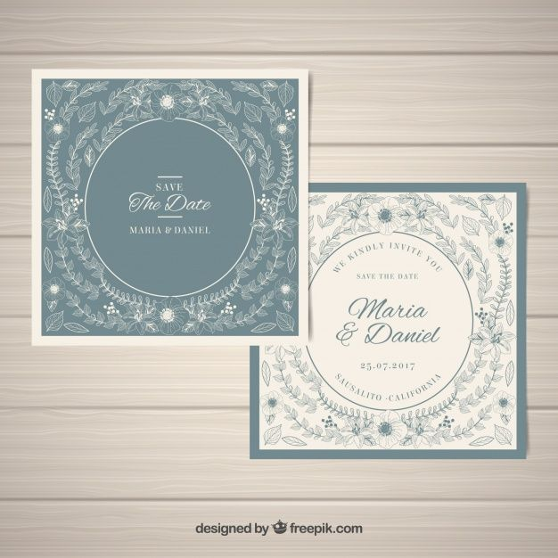 Vintage wedding cards with floral decoration Free Vector