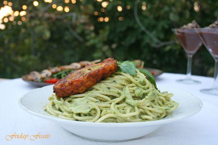 Vegan avocado pasta with carrot & zucchini fritters, Recipes  http://2via.me/J8FS16WL11