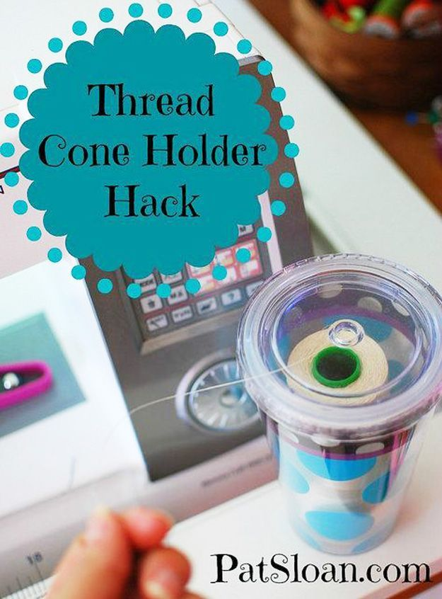 Sewing Hacks | Best Tips and Tricks for Sewing Patterns, Projects, Machines, Hand Sewn Items. Clever Ideas for Beginners and Even Experts | Thread Cone Holder Hack | diyjoy.com/...
