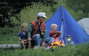 "Head outdoors this summer and go camping! We've outlined ""Eight Great Places to Camp in Oklahoma"" for you, so just click the awesome tent and campfire to read more and start planning your next adventure."