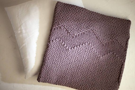 Knitted IKEA pillow case Hand knitted Brown cushion cover