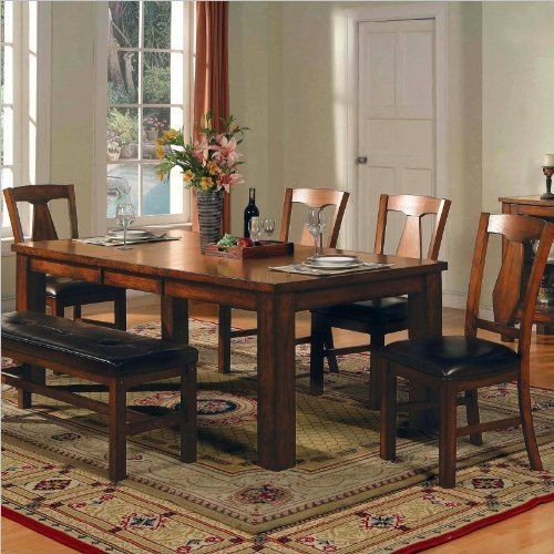 Lowest Price Online On All Steve Silver Company Lakewood Rectangular Casual Dining Table In Rich Oak Finish