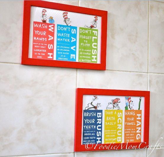 Dr. Seuss bathroom decor set for playroom bathroom