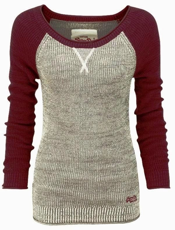 Red & Gray Baseball Sleeves Sweater | Fashionista Tribe.. How comfy!