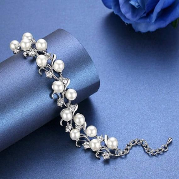 Vine Pearl Bridal Bracelet, Rhinestone Crystal Leaves Woodland Wedding Bracelet, Pearl Wedding Bracelet, Grecian Crystal Leaf Bracelet.