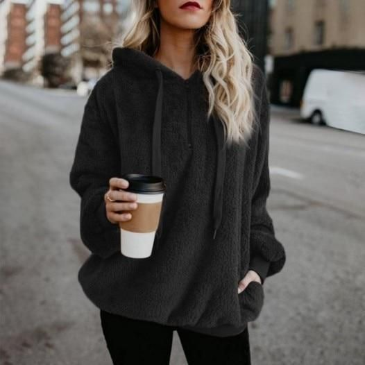 2018 Autumn Winter Warm Hoodies Sweatshirt Women Hoodies Casual Velvet Pocket Longwwetoro