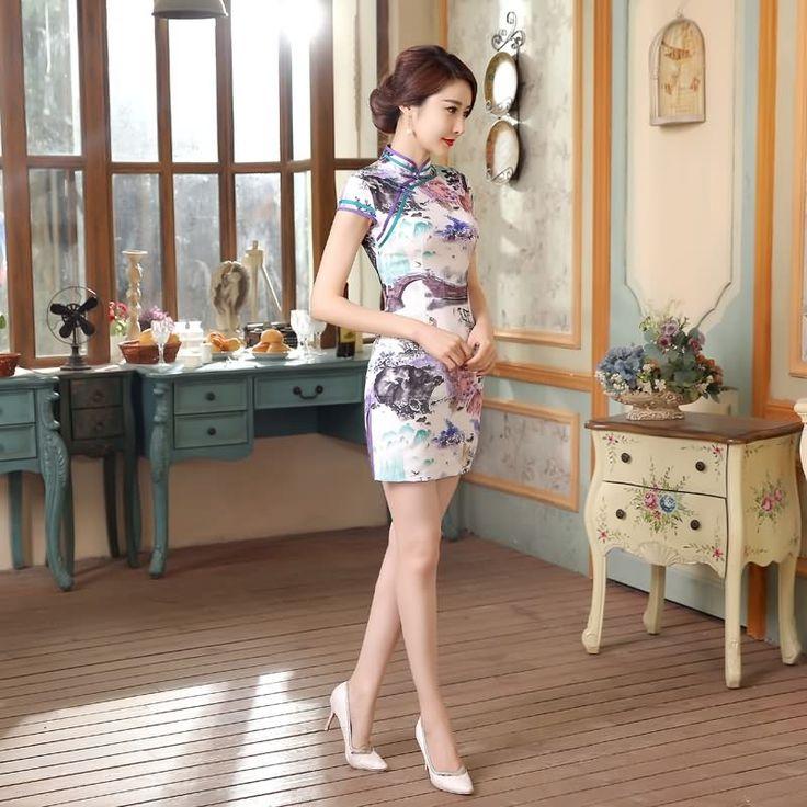 Short length Cotton-Linen Fabric Cheongsam Qipao Chinese dress LGD55-02