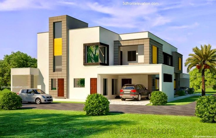 3d Front Elevation Lahore : Kanal corner plot house design lahore beautiful