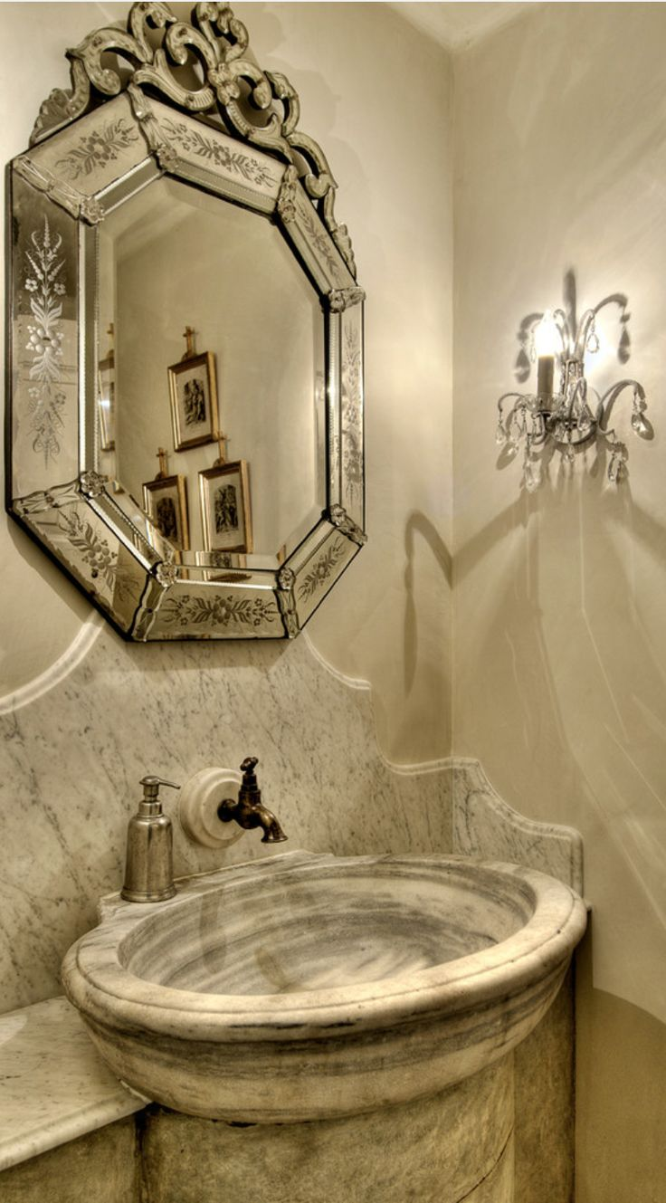 Old World Mediterranean Italian Spanish Tuscan Homes Decor Powder Rooms Bathrooms