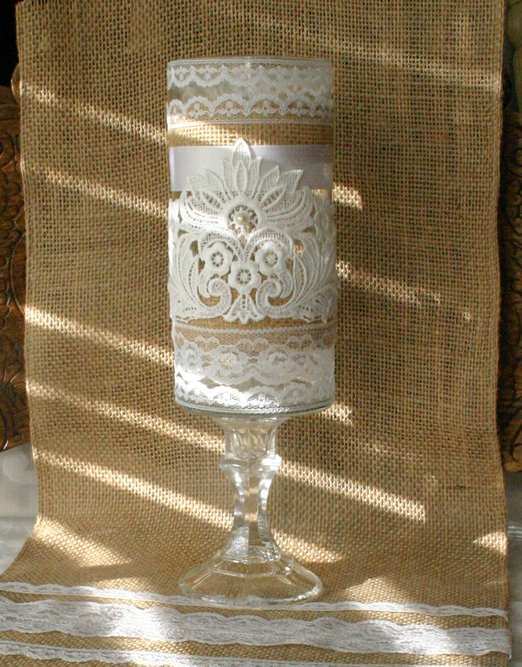 Vintage burlap wedding vase victorian centerpiece