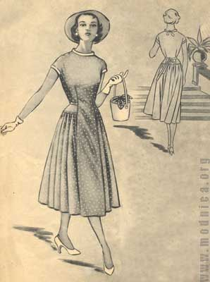 ПЛАТЬЕ ИЗ ХЛОПЧТАТОБУМАЖНОЙ ТКАНИ 50-х годов - Модели и выкройки - РЕТРО МОДА - МОДНИЦА