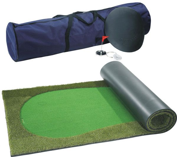 The ArtTurf Ultimate Portable Golf Putting Green is for golfers of every level. This is a professional quality putting greeen with two cups and pin flags. Chipping, long putts, solid feel, and the true roll of the ball — almost everything you expect from a real putting green. Suitable for both outdoor and indoor use. Portable and easy to install; just unroll and play.