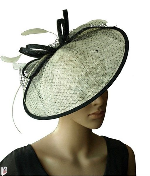 """""""Penelope"""" Large Black and Ivory Hat Fascinator $89.95 includes FREE Shipping Australia Wide"""