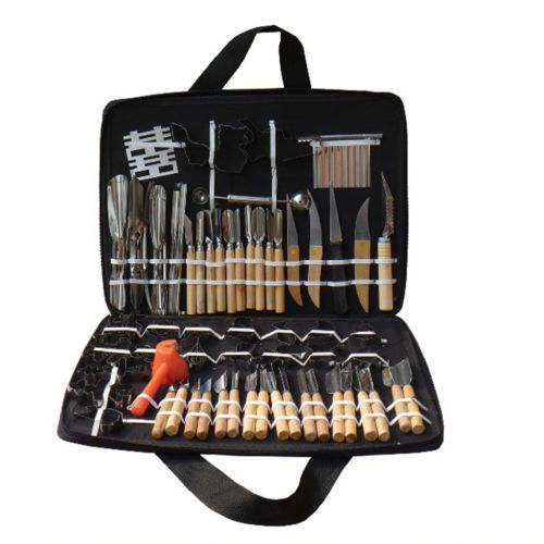 80pcs Vegetable Fruit Carving Tools Food Kitchen New With Wood Box Case Portable