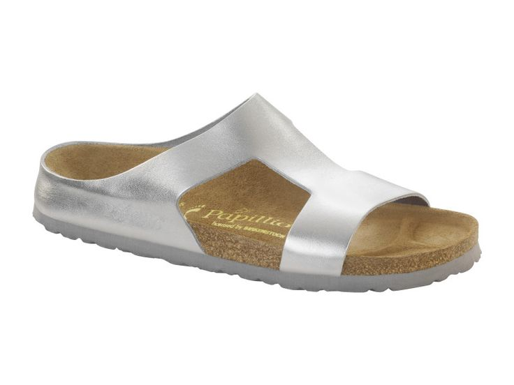 Birkenstock Charlize Natural Leather in Metallic Silver (Papillio Footbed - Suede Lining)