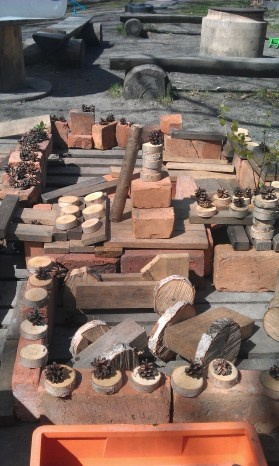 Bricks, small tree cookies, pine cones: Loose Parts outside for creative construction