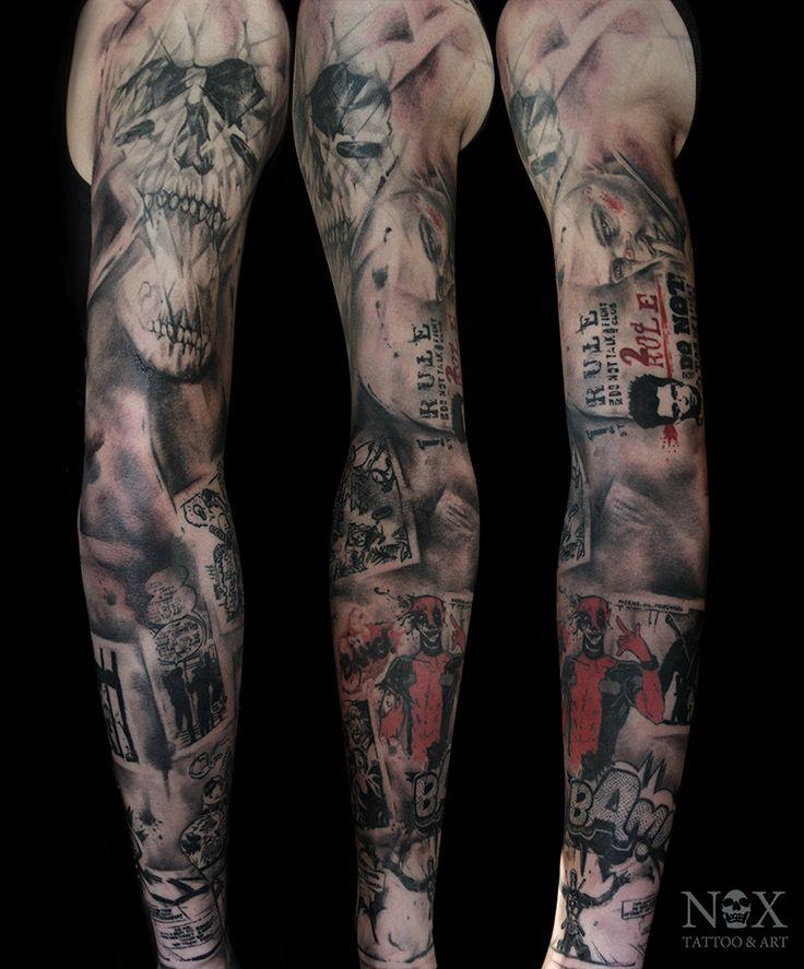 Череп, Дедпул, комиксы и Бойцовский клуб - татуировка фото и эскиз от тату-мастера Matty Nox в стиле Блэк энд грей, Трэш-полька
