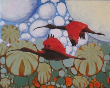 Scarlet Ibises in 5th Dimension A  Artist: MacMartin, Duncan  Artwork title: Scarlet Ibises in 5th Dimension A
