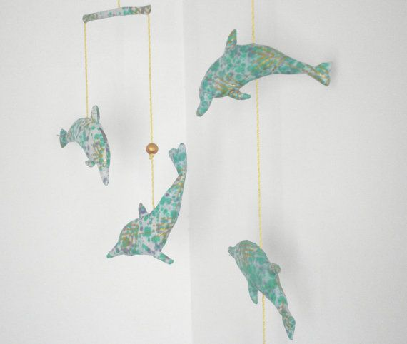 Dolphin Mobile Five Green Gold Stuffed Handmade By Giggletree