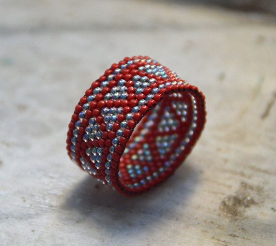 Seed bead ring, peyote ring, beaded ring, band ring, middle finger ring, boho style, hippie ring, geometric ring,handmade ring,everyday ring