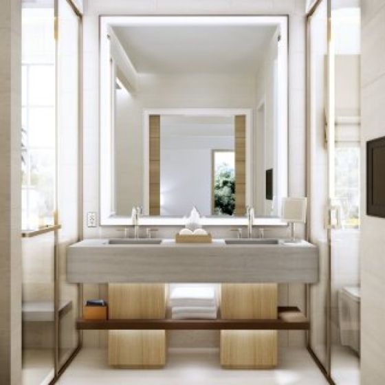 this has made me understand that creating a sense of glamour in a bathroom is all about the lighting