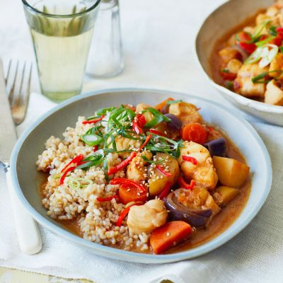 Chilli miso monkfish stew