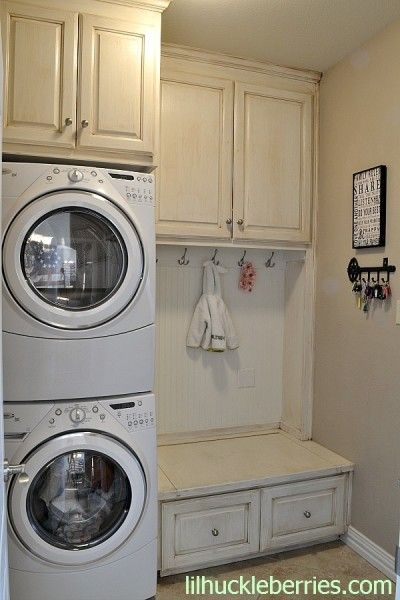 I like the bottom drawer for detergent. But I would put the basket organiser above that and then a rod for hanging clothes
