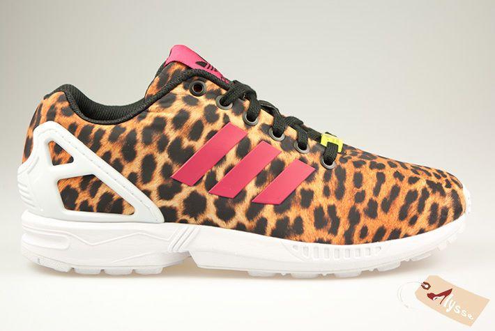 ADIDAS ZX FLUX LEOPARD Beige Noir Baskets Femme BLACK Running Sneakers tailles
