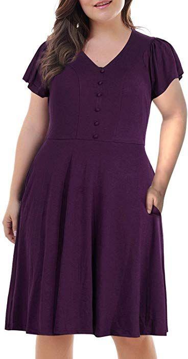 3fd3bb53f23  19.99   Prime- Nemidor Women s Front Button V Neck Short Sleeve Vintage  Plus Size Swing Dress at Amazon Women s Clothing store