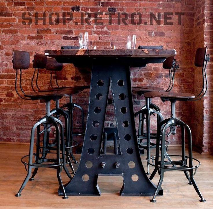 """Vintage Industrial"", custom made bar height tables. Base has a ""W"" instead?"