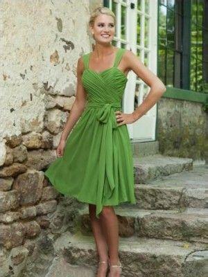 A-line/Princess Sleeveless Straps Knee-length Chiffon Bridesmaid Dress Canada