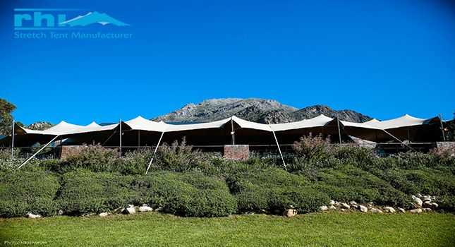 An RHI stretch tent at Olive Rock Wedding and Function Venue: 100 setups over a 5-year period and still standing strong.