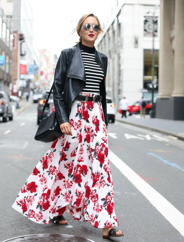 mary orton stripes turtleneck blouse floral skirt leather jacket street style