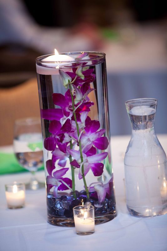 DIY Submerged Orchid Centerpiece with floating candle. :  wedding diy flowers green purple reception silver Thurston HarshmanWedding323PROOFS