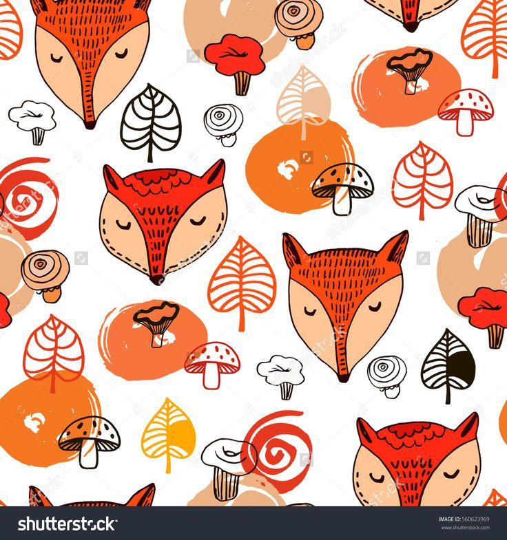 Милый Фокс, листьев и грибов.Рука нарисованные бесшовные шаблон. Векторные иллюстрации. Для текстиль,приглашения, открытки, упаковка,баннер.Смешные детские лисичка в векторе.