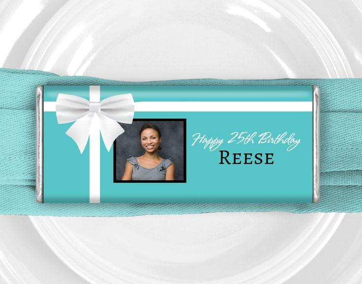 Breakfast at Tiffany's Birthday Party Theme: Personalized candy birthday favors for a Tiffany and Co candy buffet
