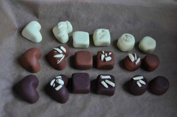 Mededelend implicatiespel: pralines. (gemaakt van fimo klei) Er zijn 3 verschillende vormen: hart, vierkant en rond. Er zijn 3 verschillende 'smaken': wit, melk of puur. Er zijn twee soorten afwerkingen: zonder iets of met witte chocolade krullen.  Dit spel wordt gespeeld zoals een 'Wie is het?' De praline die ik zoek 'is niet van melkchocolade, heeft witte chocolade krullen,...'