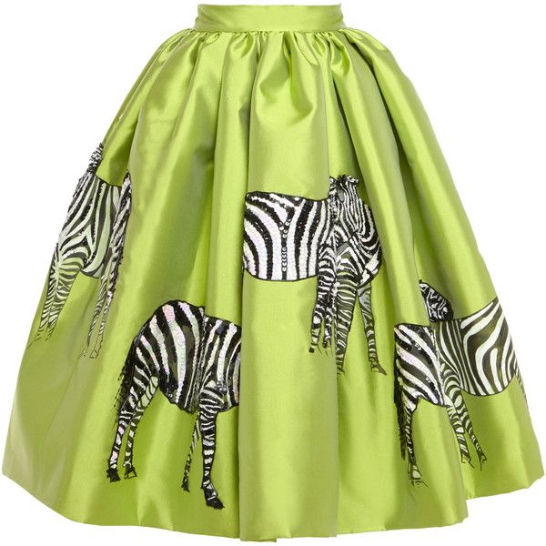 Stella Jean Acqua Mikado Skirt With Hand-Painted Zebras found on Polyvore