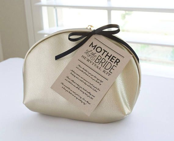 """Create the perfectly thoughtful and practical gift for both the mother of the bride and mother of the groom with this pdf poem download! To complete the kit, you'll need: a cosmetic bag, chocolate, travel tissues, makeup remover wipes, mascara, travel hairspray, a comb, Altoids, and Advil.  This listing is for a printable pdf of two wedding day survival kit tags measuring 3""""x4.5"""" for mother of the bride and mother of the groom gifts. To achieve the look in the photo, print on kraft cardstock…"""
