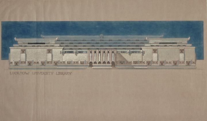 Library for the Raja of Mahmudabad (1937), drawing by Marion Mahony - copy capitol blueprint springfield illinois
